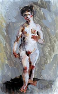 stehender weiblicher akt by axel leskoschek