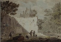 peasants with cattle among ruins, a road to the right by cornelis van noorde