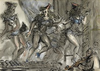 vaudeville dancers on a stage by reginald marsh