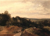 landscape with view from hampstead heath by thomas christopher hofland