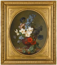 still life of roses, hyacinth, wallflower and other flowers in a lapis lazuli vase; still life of narcissus, hyacinth and other flowers in a brown porphyry vase (pair) by gérard van spaendonck
