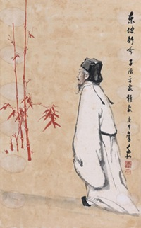 东坡行吟 立轴 设色纸本 (painted in 1980 figure) by jiang zhaohe