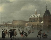 a winter landscape with skaters and kolf players on the ice by hendrick avercamp
