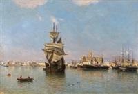 marina con barcos con vista de málaga al fondo by josé gartner de la peña
