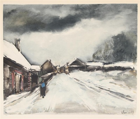 village in the snow by maurice de vlaminck