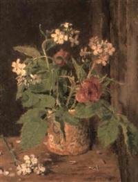 pink roses and white rocket in a lustre mug by allan gwynne-jones