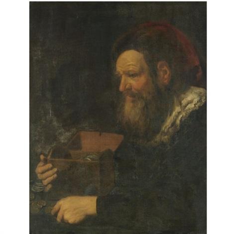 portrait of a banker, half length, holding a money box by johann liss