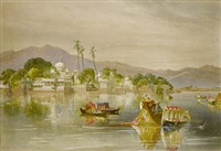 the summer palace on the lake of oodeypore (+ 4 others; 5 works) by william simpson