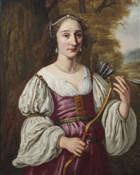 portrait of a young lady as diana, half-length, in a violet dress and pearl jewellery, holding a bow and quiver by jan victors