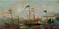 ships in a calm sea by caspar van eyck