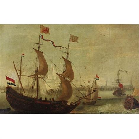ships in antwerp harbor by andries van eertvelt