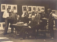 members of the salon selecting works for the 1923 exhibition by marcus adams