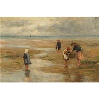 children gathering kemp on a beach by charles a. sellar