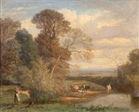 vaches aux bords de la rivière by emile charles lambinet