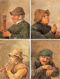 le toucher, l'ouïe, la vue, le goût et l'odorat (set of 4) by abraham teniers
