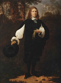 portrait of a gentleman, full-length, in a black costume with white sleeves, cuffs and collar, holding his hat in his right hand and a glove in his left hand, standing in wooded landscape by thomas de keyser