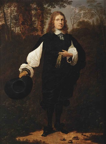 portrait of a gentleman full length in a black costume with white sleeves cuffs and collar holding his hat in his right hand and a glove in his left hand standing in wooded landscape by thomas de keyser