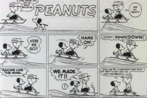 schulz charlie brown. sunday comic strip: charlie brown and snoopy go sledding by charles m. schulz h