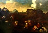 pastorale barocklandschaft. stimmungsvolle abendszenerie mit hirten auf pferd u. mit lendentuch bekleidetem hirten auf lager liegend mit schafen by jan van bunnick