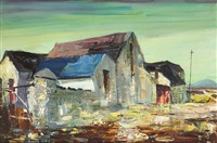 landscape after rain (cottage at roundstone) by kenneth webb