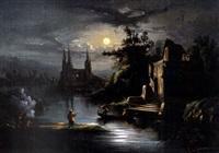 paysage à la rivière au clair de lune (+ another; pair) by léonard saurfelt