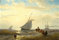 two fishing boats, a steam ship and men on a flat-boat on open sea by jacob willem gruyter