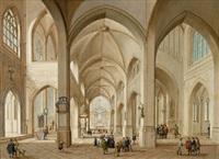 inneres einer gotischen kirche mit vielen figuren by johann friedrich morgenstern
