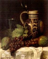 cruche, raisins et poires sur une table by joseph nauwens