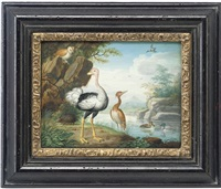 exotic birds and an owl on the banks of a river by j. f. hefele