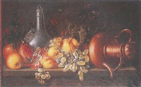 an upturned copper teapot, a pewter flagon and fruit on a ledge by johannes bouman