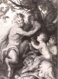 bacchus and wood nymphs revelling in a woodland glade by lady diana beauclerk