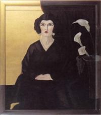 bildnis einer dame mit kalla vor schwarzem und goldenem   hintergrund by anna semenov