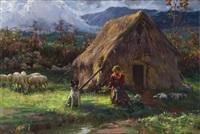 contadinella con case e gregge presso la capanna by augusto corelli