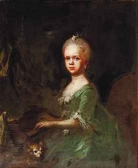 portrait of a young girl, three-quarter-length, playing the pianoforte, in a green dress, with a dog by gaspare traversi