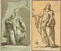 2 bll.: maria mit dem jesusknaben - der hl. johannes evangelist (after parmigianino) (2 works) by antonio maria zanetti