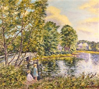two young girls by the lake by hugo melville fisher