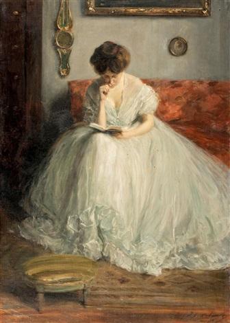 portrait de lucie lisant un livre by jacques emile blanche