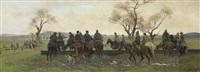 sosta dei cacciatori per far abbeverare i cavalli by eugenio cecconi