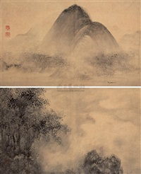 山水双挖 (landscape) (2 works) by zhang fuyang