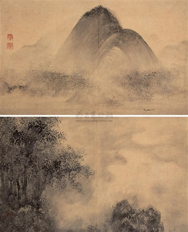 山水双挖 landscape 2 works by zhang fuyang