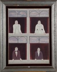 quatre personnages aux fenêtres by mirelle bastin