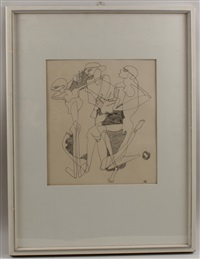 badende (+ den helden des krieges, pen and ink, lrgr; 2 works) by curt stenvert