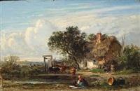 laveuse devant la ferme by emile charles lambinet