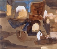study for middle eastern street scene; untitled (2 works) by hercules brabazon brabazon