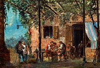 under the arbour (playing morra) by giovanni migliara