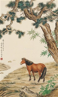 骏马图 立轴 设色纸本 by ma jin