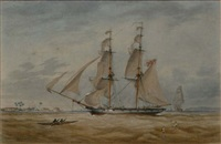 a royal navy brig on anti-slavery patrol heaving-to off the african coast by charles arthur lodder