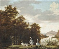 a wooded river landscape with greylag geese on a bank by dirck wyntrack