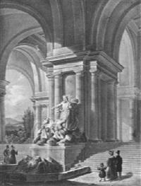 am neptunbrunnen by giovanni battista (johann baptist) pian
