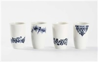 set of four delft in detail b-set cups by hella jongerius